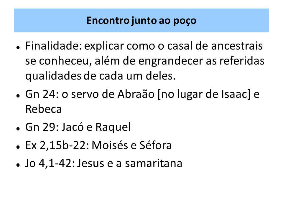 Gn 24: o servo de Abraão [no lugar de Isaac] e Rebeca